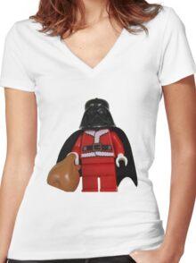 Santa Darth Vader Women's Fitted V-Neck T-Shirt