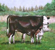 cows in field_demo small painting by martyee