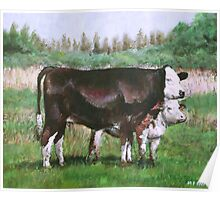 cows in field_demo small painting Poster