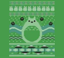 Totoro Knitted Neighbor One Piece - Short Sleeve