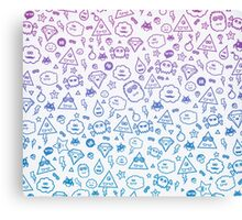 Crazy and Cute Monster Patter in blue pink Canvas Print