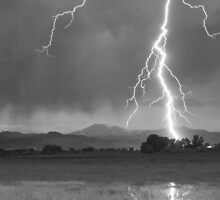 Lightning Striking Longs Peak Foothills  5CBW by Bo Insogna