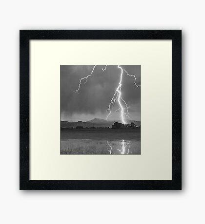 Lightning Striking Longs Peak Foothills  5CBW Framed Print