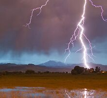Lightning Striking Longs Peak Foothills  5 crop by Bo Insogna