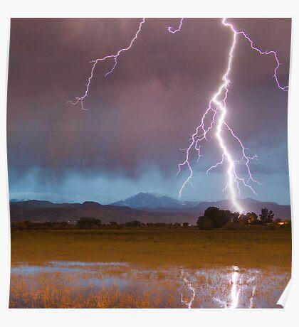 Lightning Striking Longs Peak Foothills  5 crop Poster