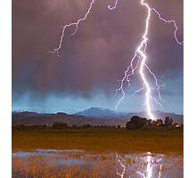Lightning Striking Longs Peak Foothills  5 crop Photographic Print