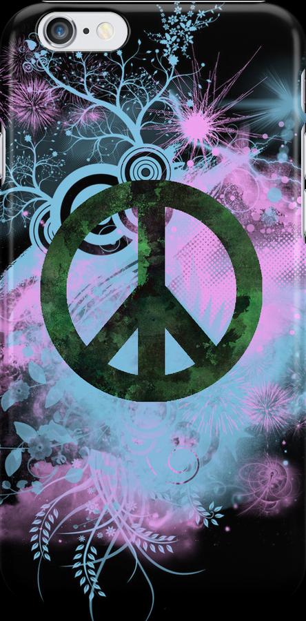 Blue/Pink Peace Sign Collage Case by Jenifer Jenkins