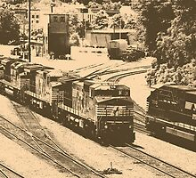 Passing Trains (Antique Sepia Version) by Greg Booher