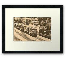 Passing Trains (Antique Sepia Version) Framed Print