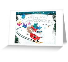 Santa skiing Greeting Card