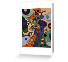 Funny Cool Kangaroo Playing Saxophone Art Greeting Card