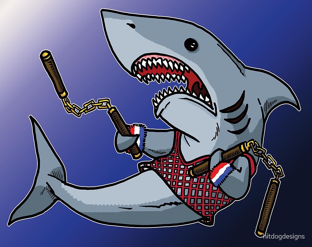 Shark with Nunchucks by hitdogdesigns