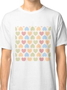 Seamless pattern with ornamental heart shaped symbols, line drawings Classic T-Shirt