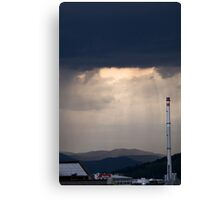 Storm and rain over residential area of Ljubljana. Canvas Print