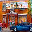 PAINTINGS OF MONTREAL FAIRMOUNT BAGEL SHOP by Carole  Spandau