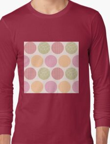 Seamless pattern with ornamental circles and line drawings Long Sleeve T-Shirt