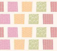 Seamless pattern with ornamental square shapes and line drawings by BlueLela