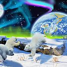 Three Playful Polar Bear Cubs &amp; Aurora Earth Day Art by Skye Ryan-Evans
