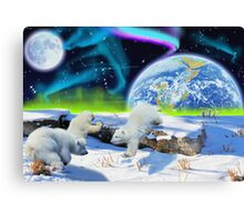 Three Playful Polar Bear Cubs & Aurora Earth Day Art Canvas Print
