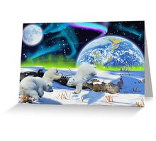 Three Playful Polar Bear Cubs & Aurora Earth Day Art Greeting Card