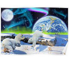 Three Playful Polar Bear Cubs & Aurora Earth Day Art Poster