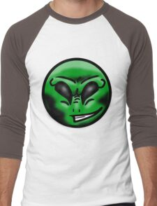 Alien Face (Green) Men's Baseball ¾ T-Shirt