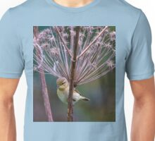 Young Willow Warbler sitting amongst Cow Parsley Unisex T-Shirt