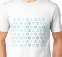 Seamless pattern with blue christmas snowflakes on white background Unisex T-Shirt