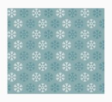 Seamless pattern with blue and white christmas snowflakes on blue background One Piece - Long Sleeve