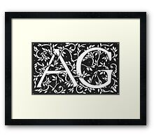 William Morris Inspired Monogram AG Framed Print