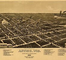 Panoramic Maps A bird's eye view of the city of Antigo Wis county seat of Langlade County 1886 by wetdryvac