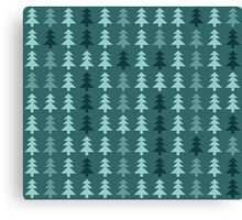 Seamless pattern with christmas trees on blue background Canvas Print