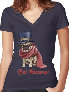 Bah Humpug! Women's Fitted V-Neck T-Shirt