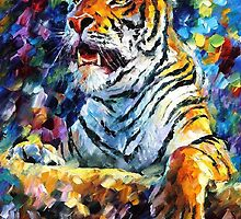 ANGRY TIGER  - ORIGINAL OIL PAINTING BY LEONID AFREMOV by Leonid  Afremov