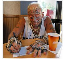 Tatto man at McDonalds Poster