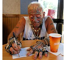 Tatto man at McDonalds Photographic Print