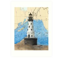 Rock of Ages Lighthouse MI Nautical Chart Peek Art Print