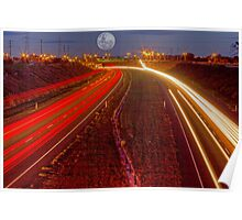 light trail under moonlight Poster