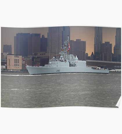 Canadian Battleship on The Hudson Rv. Poster