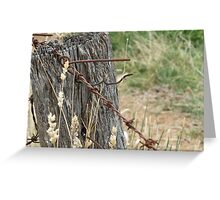 Old Barbed Wire Fence Greeting Card