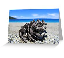 Pine Cone - Beach Surrounded by Pine Trees Greeting Card