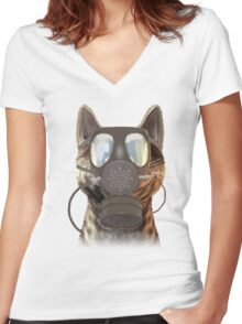 Schrödinger underestimates the cat Women's Fitted V-Neck T-Shirt