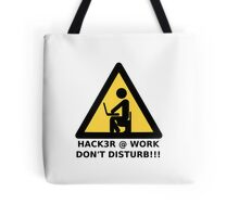 Hacker at work Tote Bag