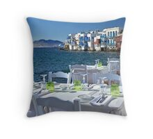 Dinnertime in Greece Throw Pillow
