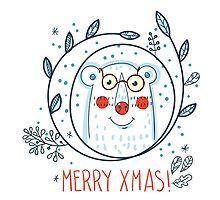 Christmas  polar bears and wreaths.  by Olga Matskevich