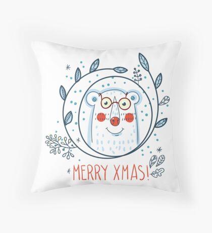Christmas  polar bears and wreaths.  Throw Pillow