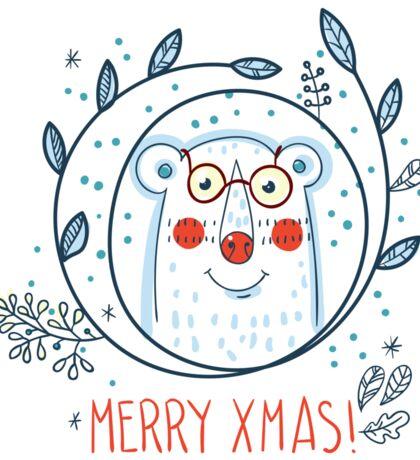 Christmas  polar bears and wreaths.  Sticker