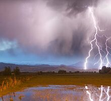 Lightning Striking Longs Peak Foothills 6 by Bo Insogna