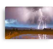 Lightning Striking Longs Peak Foothills 6 Canvas Print