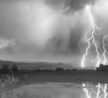 Lightning Striking Longs Peak Foothills 6BW by Bo Insogna